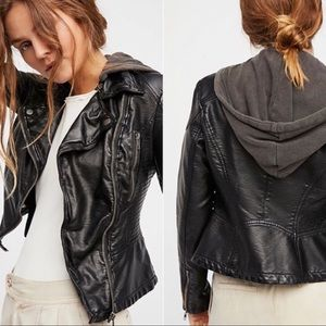 Free People Vegan Leather Jacket w Removable Hood